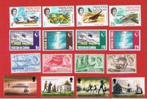 Tristan da Cunha #116-131 MNH OG  4 sets 1968-69 complete Free S/H