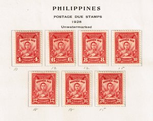 Philippines Stamp  1928 POSTAGE DUE MINT STAMPS ON ALBUM PAGE