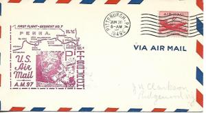 Airmail First Flight Pittsburgh PA June 20 1949 AAMC#97E41