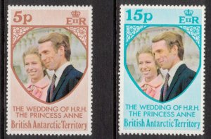 BRITISH ANTARCTIC 1973 Princess Ann Wedding; Scott 60-61, SG 59-60; MNH