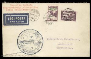 Hungary 1931 Graf Zeppelin 2p Flown Si102Bb Cover Debrecen 90736
