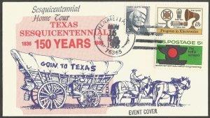 1986 US EVENT COVER,HENRIETTA TX,SESQUICENTENNIAL HOME TOUR,150 YEARS