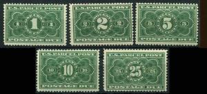 U.S. 1913 PARCEL POST Postage Due  SCOTT #JQ1-JQ5 MNH SET.