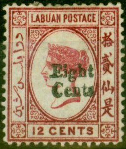 Labuan 1881 8c on 12c Carmine SG15 Good Mtd Mint