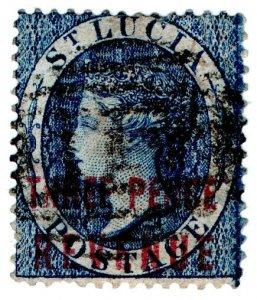 (I.B) St Lucia Revenue : Duty Stamp 3d