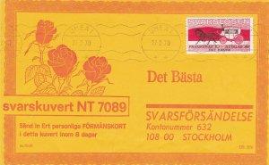Sweden 1970 Umea 1 Cancels Rose Illust. Svars Losen Reply Stamps Cover Ref 45785
