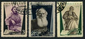 Russia 577a-579a perf 11,CTO.Michel 536C-538C. Count Leo N.Tolstoy,writer,1935.