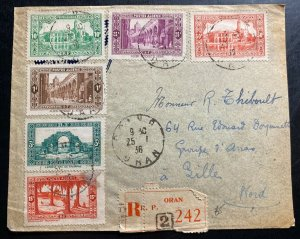 1936 Oran French Argelia Registered Cover To Sille