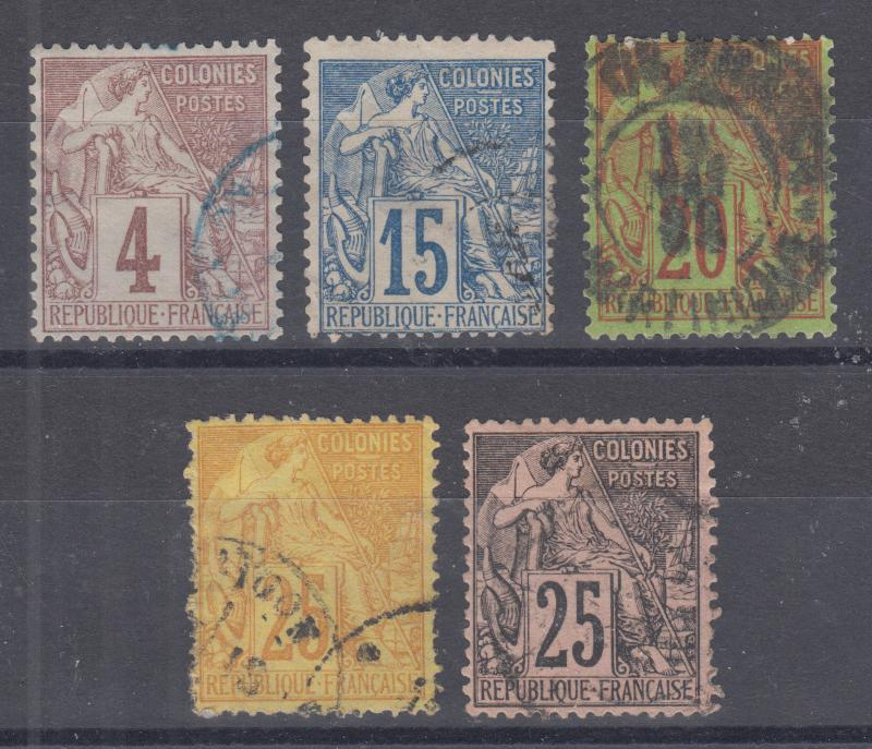 French Colonies Sc 48, 51-54 used. 1881-86 Commerce issues, 5 different, sound