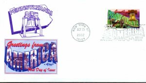 US FDC #3733 Greetings From Pennsylvania, Artmaster (9854)