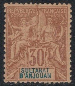 Anjouan #12*  CV $35.00  VF+ stamp