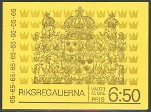 SWEDEN (H248C) Scott 903a, 65ore Crown Regalia Booklet,