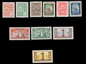 LITHUANIA 1934-1935 SYMBOLS OF LITHUANIA SET MNH #286-295 and ex Perfectum CV...
