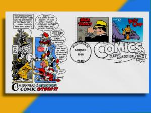 Dick Tracy & Alley Oop on Handcolored Classic Comic Strips FDC by Bennett