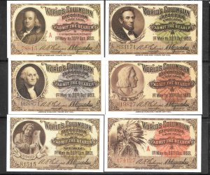 #1893 Reprints World's Columbian Exposition Entrance 6 Tickets (my1200)