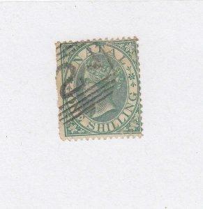 NATAL (MK2655)  # 17  F-USED  1sh  1867 QUEEN VICTORIA / GREEN CAT VALUE $53