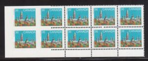 Canada #926Bf XF/NH Plate Block Of 10 With Left Vertical Pair Imperf