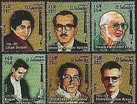 HERRICKSTAMP SALVADOR Sc.# 1628-33 Famous Salvadorean Writers