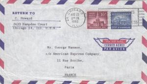 1962, Chicago, IL to Paris, France, Airmail (29323)
