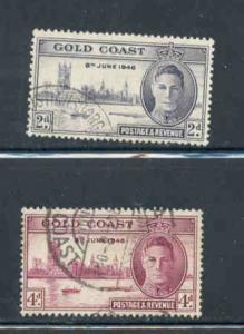 Gold Coast Sc 128-29 1946 Peace stamp set used