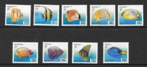SINGAPORE SG1127/35 2001 TROPICAL FISH NO A NO B NUMBERS MNH