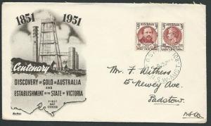 AUSTRALIA 1951 Gold & Victoria commem FDC..................................41035