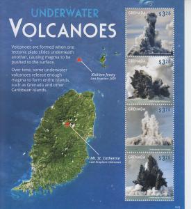 2015 Grenada Underwater Volcanoes MS4 (Scott 4109) MNH