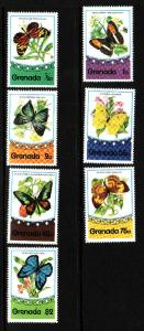Grenada-Sc#660-6-unused light hinged set-Butterflies-Insects-1975-