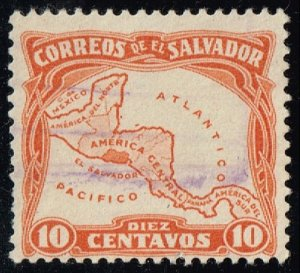 El Salvador #500 Map of Central America; Used (2Stars)