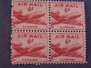 U.S.# C39-MINT/NH-BLOCK OF 4- CARMINE--AIR-MAIL--DC-4 SKYMASTER---1949