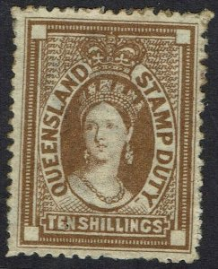 QUEENSLAND 1871 QV CHALON STAMP DUTY 10/- WITH CERTIFICATE WMK CROWN/Q
