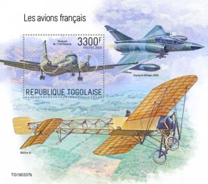 TOGO - 2019 - French Planes - Perf Souv Sheet - MNH