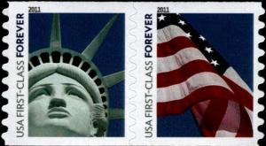 2010 44c Lady Liberty and Flag, Pair Scott 4490-4491 Mint F/VF NH