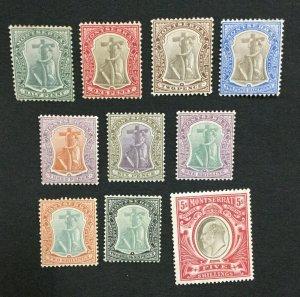 MOMEN: MONTSERRAT SG #24-33 1904-08 MINT OG H LOT #194725-2976