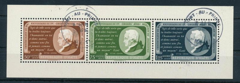 [19590] Haiti 1956 Inter American Philosophical Congres VF Souvenir Sheet Used