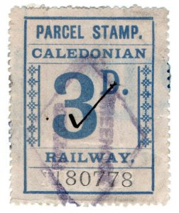 (I.B) Caledonian Railway : Parcel Stamp 3d (Greenock)