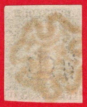 GBR SC #1 U (I,D) 1840 Queen Victoria P5 4-margins w/red MC cancel CV $390.00