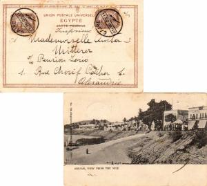 Egypt 1m Sphinx and Pyramid (2) 1905 Caire PPC (Assuan, View From The Nile) P...