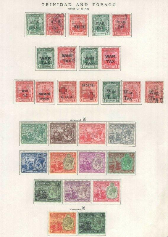 Trinidad + Tobago Stamps 1917-28 Approx. CV. $210 (JH 9/22) GP