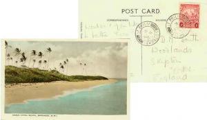 Barbados 1d Seal of the Colony 1939 St. Philip, Barbados PPC (Crane Hotel Bea...