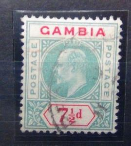 Gambia 1904 - 06 7 1/2d Green & Carmine Fine Used SG65