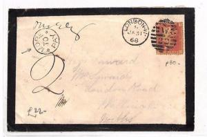 GB UNDERPAID Penny Plate 80 London Mourning Cover  'More to pay'1868 AS108