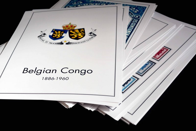 COLOR PRINTED BELGIAN CONGO 1886-1960 STAMP ALBUM PAGES (95 illustrated pages)