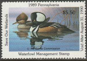 U.S.-PENNSYLVANIA 7, STATE DUCK HUNTING PERMIT STAMP. MINT, NH. VF