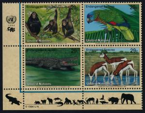 United Nations - New York 642a BL Block MNH Chimpanzee, Parrot, Crocodile