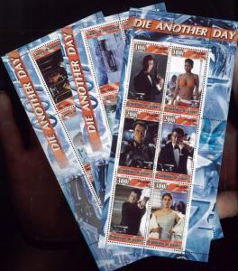 007 DIE ANOTHER DAY Souvenir Sheet Set x3 MNH - Guinea E83