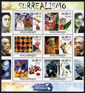 Mozambique 2011 Surrealist Art perf sheetlet containing 6...