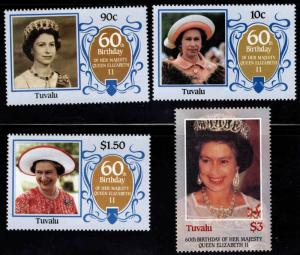 TUVALU Scott 357-360 MNH** QE2 60th Birthday set 1986