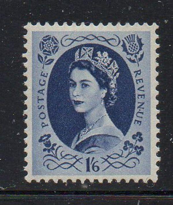 Great Britain Sc 333 1955 1/6d dark blue QE II stamp mint NH