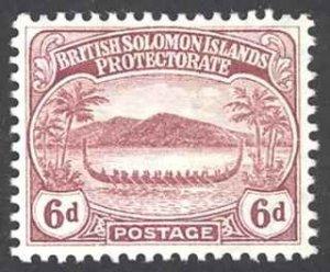 Solomon Islands Sc# 14 MH 1908-1911 6p War Canoe